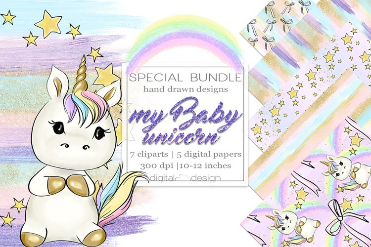 My Baby Unicorn - Clipart and digital paper example image 1