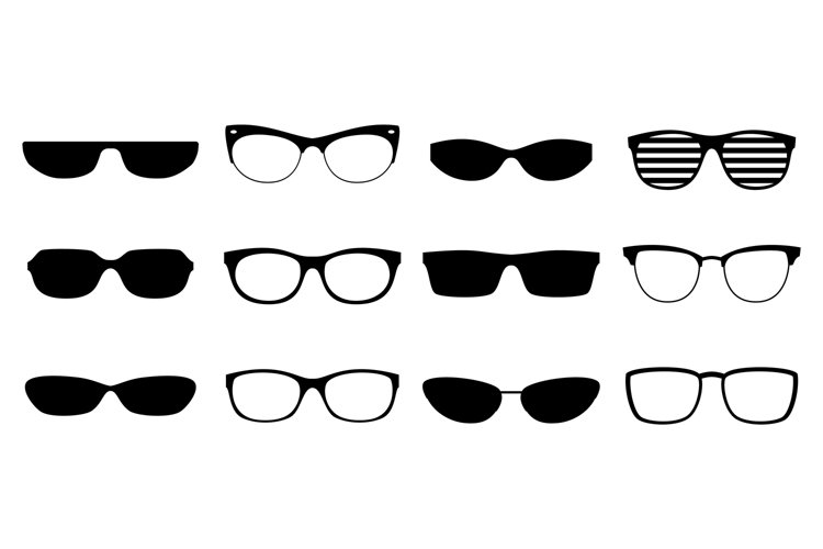 Eyeglasses silhouettes set example image 1