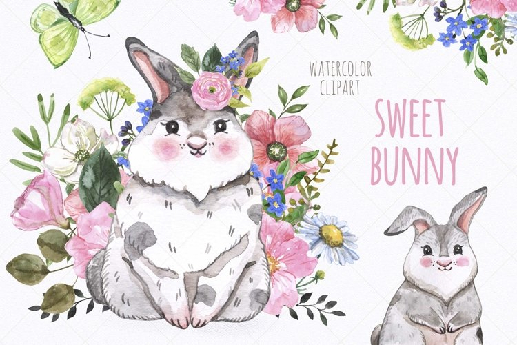 Watercolor Cute Bunny Easter Spring Little Rabbit Clipart example image 1