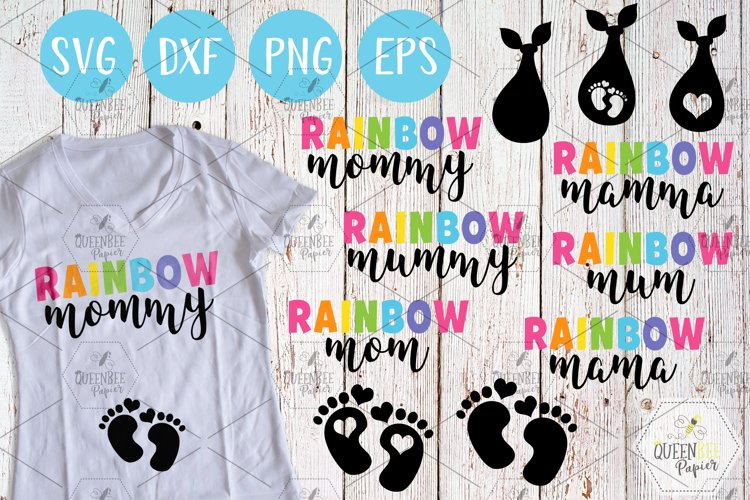 Rainbow Mom SVG Cut Files, Pregnancy SVG, Mother's Day SVG example image 1