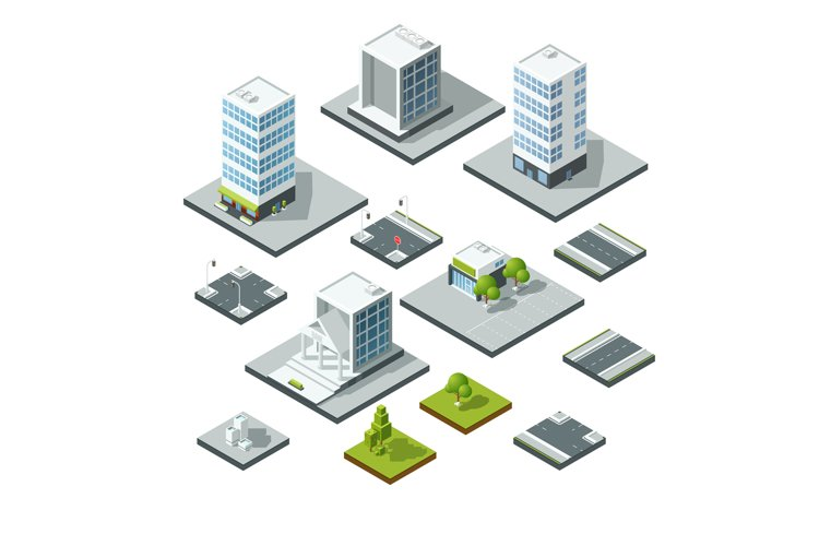 Set of isometric city landscape design elements. 3D construc example image 1
