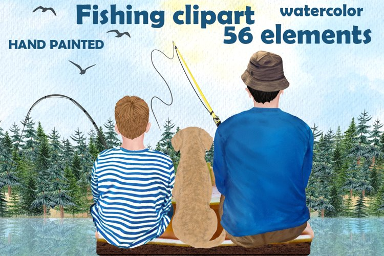 Fishing clipart, BOY FISHING clipart, Fathers day clipart