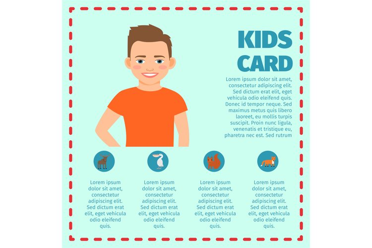 Boy in orange t-shirt infographic card example image 1