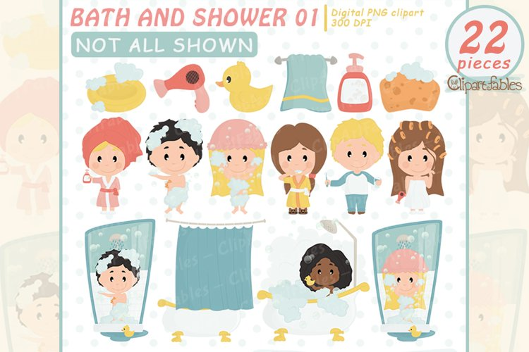 BATH and SHOWER clipart, Cute kids grooming art - INSTANT example image 1