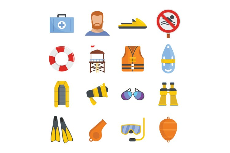 Lifeguard save icons set, flat style example image 1