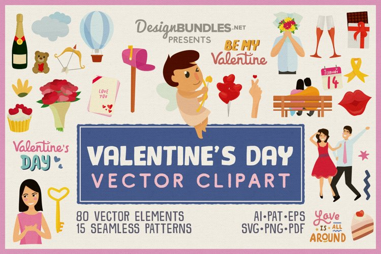 80 Valentines Day Vector Clipart and Seamless Patterns