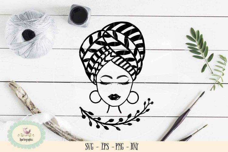 Afro girl bandana SVG PNG eyebrow lips girl example image 1