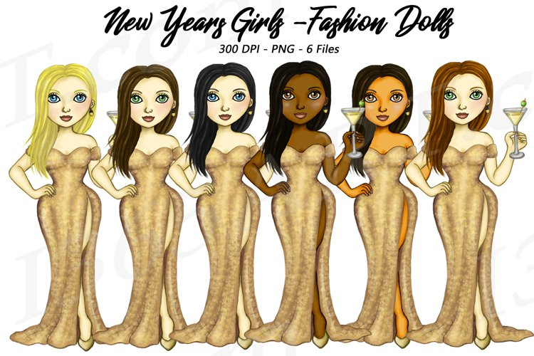 New Years Eve Clipart, Fashion Girls Illustrations, PNG