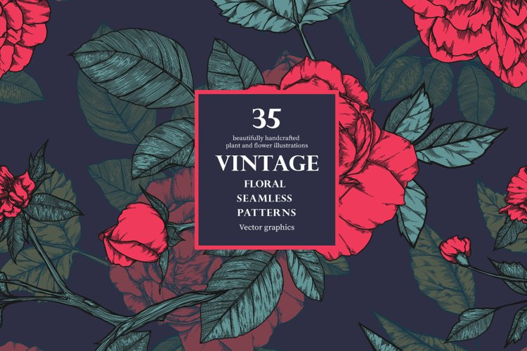 Vintage seamless patterns with roses