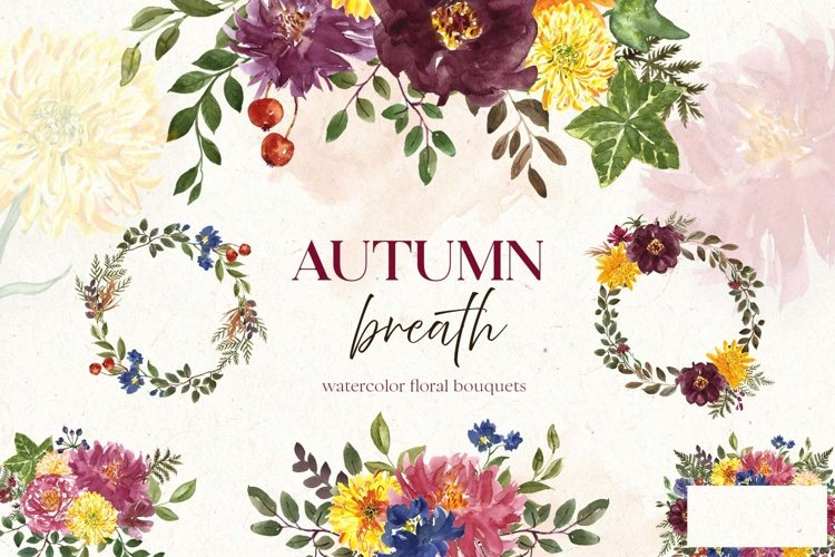 Fall Flowers Watercolor Autumn Floral bouquets Clipart example image 1