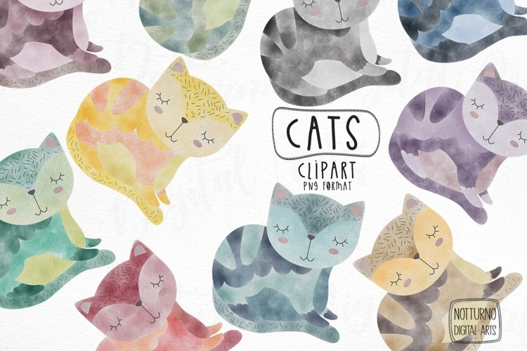 Watercolor Cat Clipart. Set of 10 png digital clipart example image 1