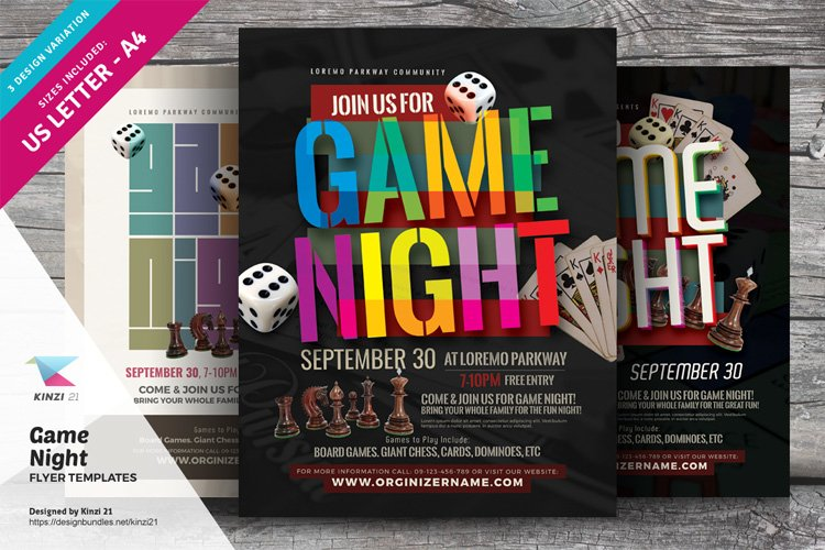 Game Night Flyer Templates example image 1