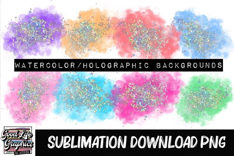 Watercolor glitter sublimation background elements-PNG