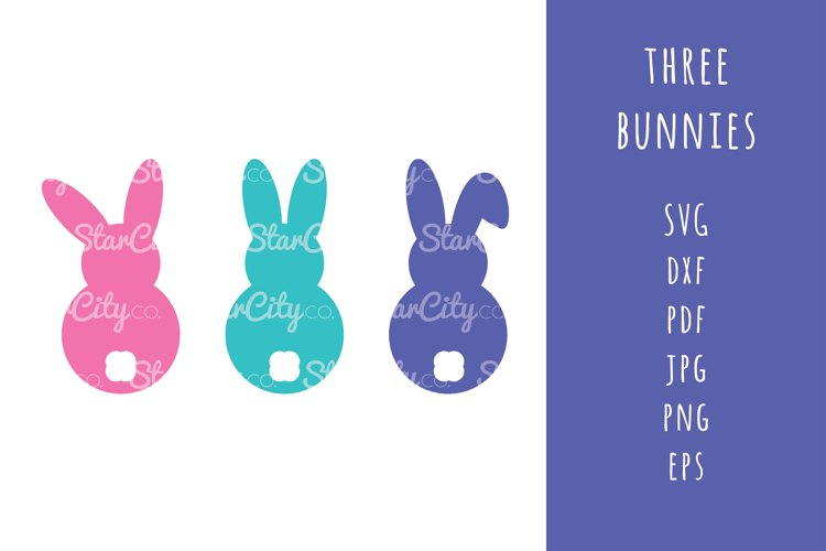 Bunnies SVG Cut Files, Bunny Cutting file, Easter SVG cut example image 1