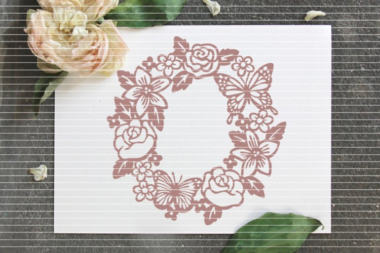 Flower Wreath SVG DXF EPS PDF PNG JPG example image 1