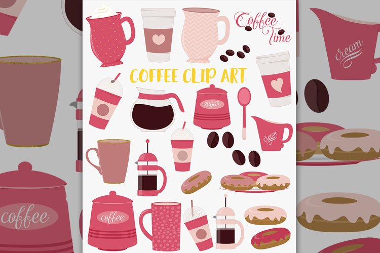 Coffee break clipart set, pink coffee pot, donuts example image 1