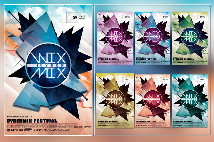 Cyber Mix Photoshop Flyer Template example image 1