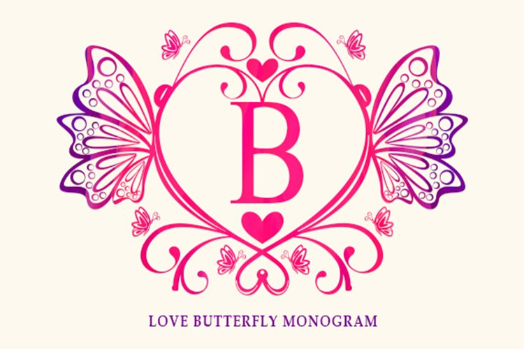 Love Butterfly Monogram example image 1