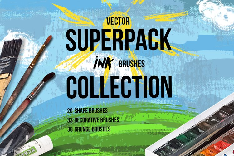 Superpack: 91 ink brushes. example image 1