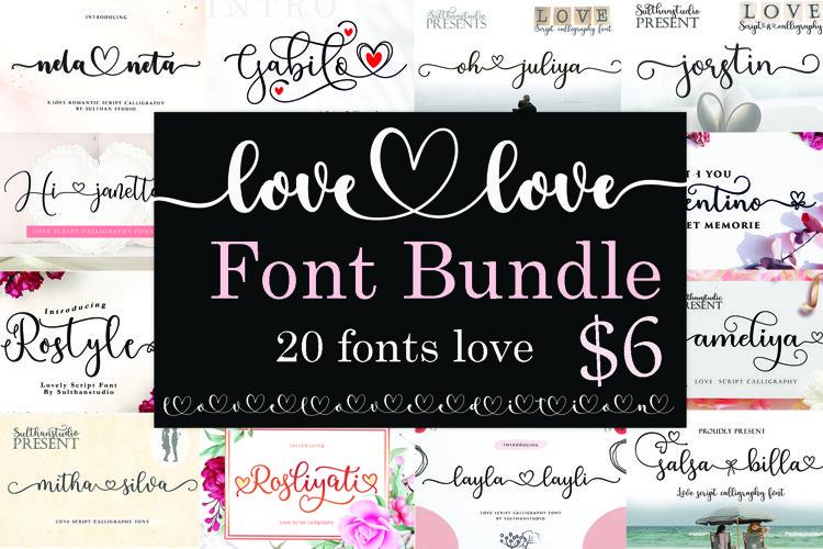 Love love Font Bundle example image 1