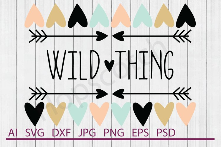 Heart Border SVG, Wild Thing SVG, DXF File, Cuttable File example image 1