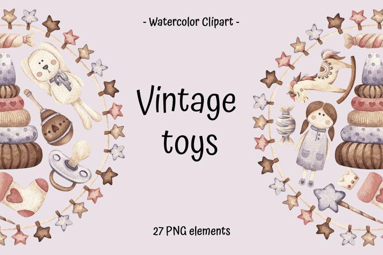 "Watercolor Clipart ""Vintage toys"""