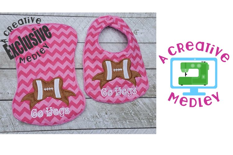 Bib and Burp Cloth with Football Bow for 7x12 and up hoops example image 1
