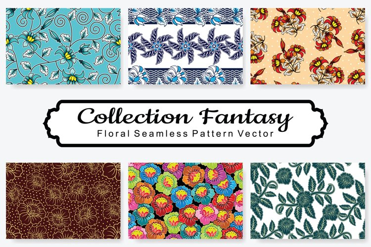 Set Of Fantasy Floral Vector Pattern Vol.3 example image 1