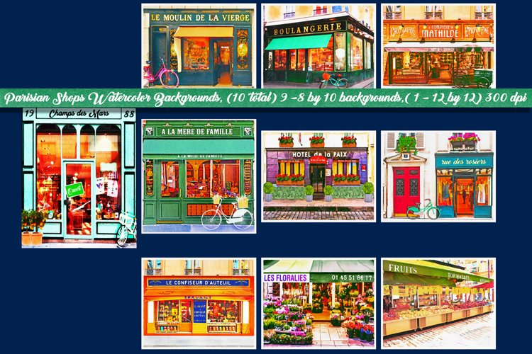 Parisian Shops Watercolor Backgrounds
