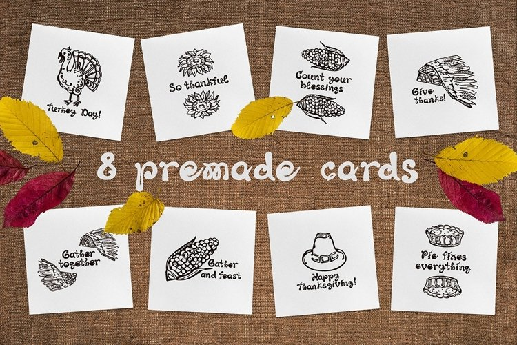 8 Thanksgiving greeting cards| SVG EPS AI JPEG PNG PSD example image 1