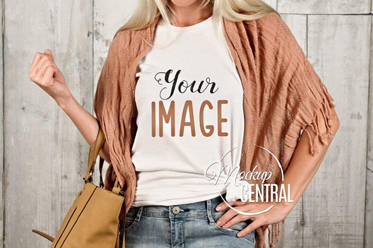 T-Shirt Mockup, Shirt Mock Up on Woman JPG example image 1