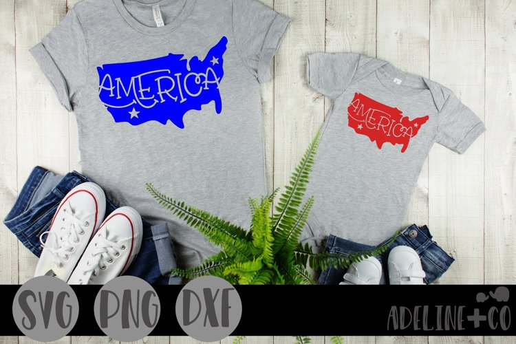 America, USA silhouette, SVG, PNG, DXF example image 1