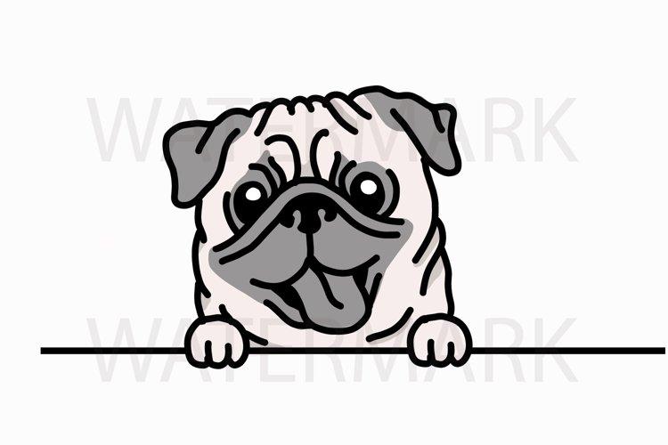 Peeping Pug saying hello - SVG/JPG/PNG Hand Drawing example image 1