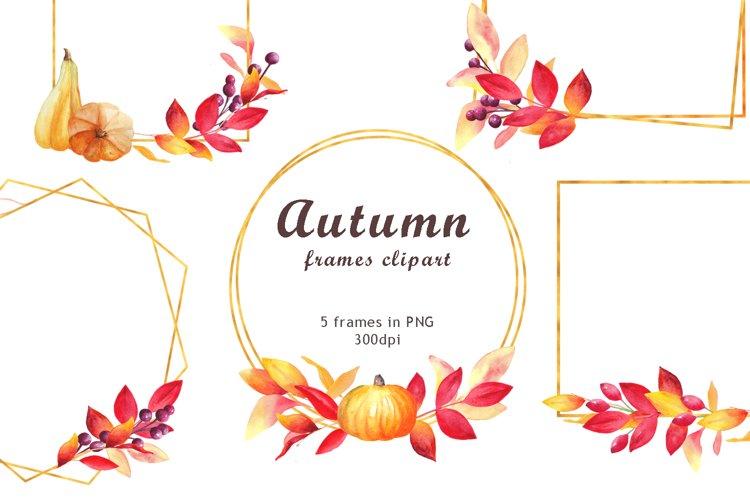 Watercolor autumn gold geometrical frames clipart.