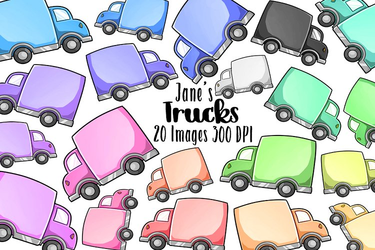 Kawaii Trucks Clipart example image 1