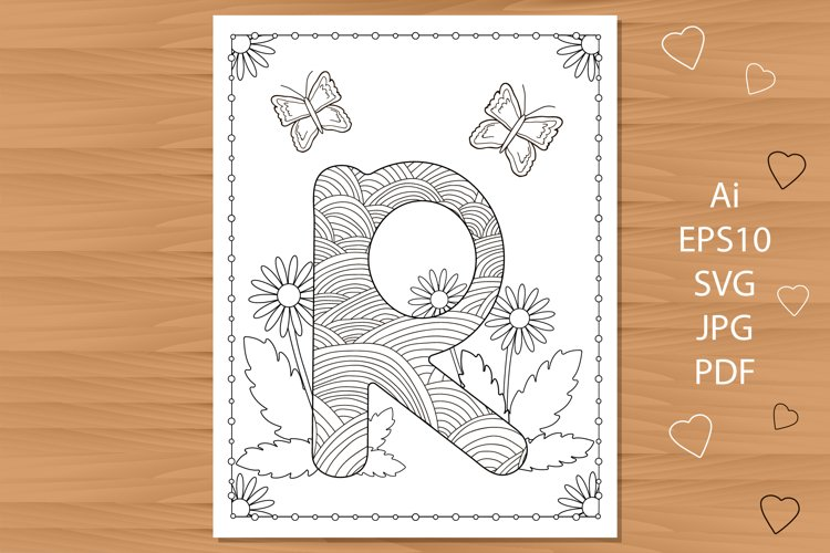 Letter R. Flowers. Coloring page. example image 1