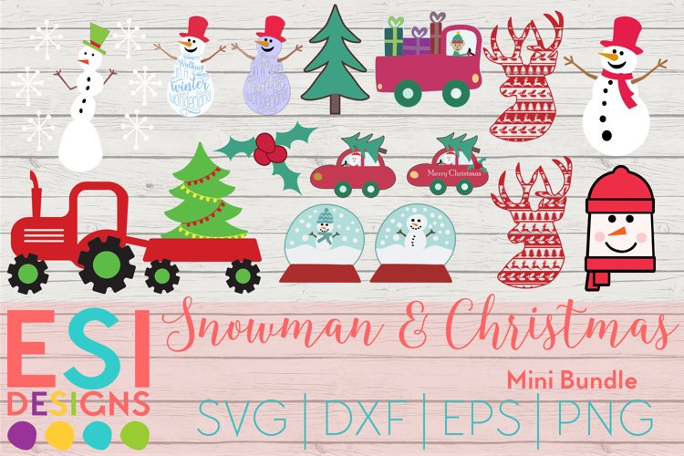 Christmas SVG | Snowman and Christmas Bundle | SVG DXF EPS example image 1