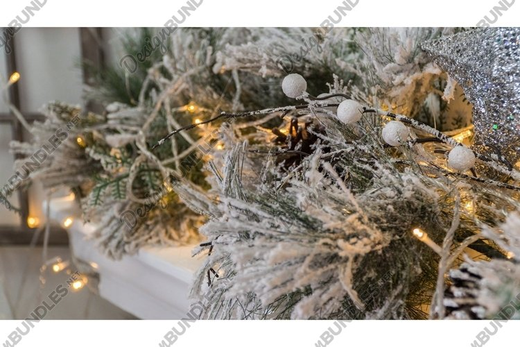 Composition of Christmas decorations with fir tree example image 1