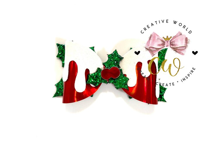 Christmas Holy Berry Bow Digital Template |Bow Template example image 1