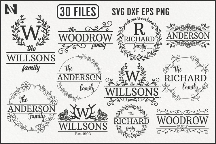 Family Monogram Svg Bundle, Wreath Monogram Svg, Family Svg