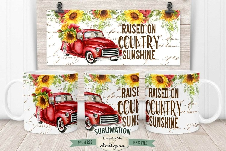 Country Sunshine Mug Wrap Sublimation | 11 oz & 15 oz PNG