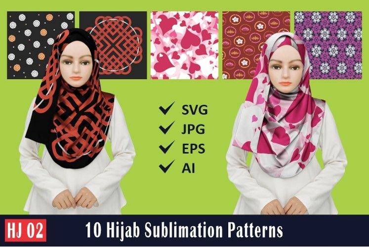 HJ 02, 10 Hijab Sublimation Patterns example image 1