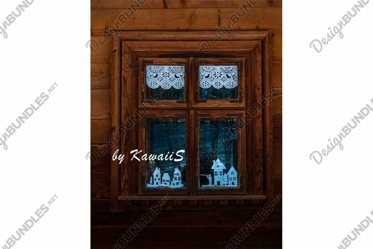 Vintage brown wooden window Antique building exterior detail example image 1