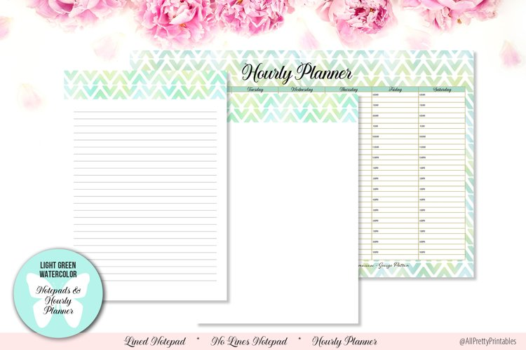 Light Green Watercolor Digital Notepads and Hourly Planner example image 1