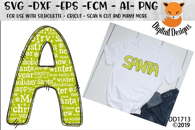 Sublimation Printable Christmas Words Alphabet Letters example image 1
