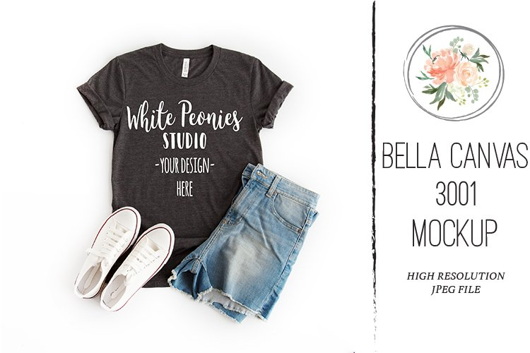 Heather Black Bella Canvas 3001 Shirt Mockup with shorts example image 1