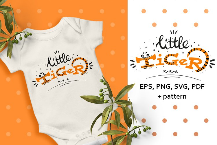 Cute baby lettering. Little tiger example image 1