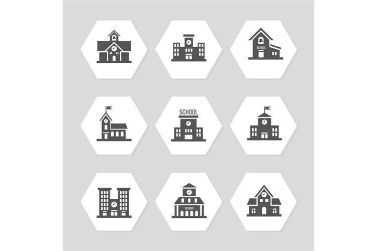 School buildings flat icons collection example image 1