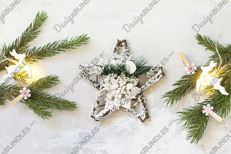 Winter Christmas background with fir branches. example image 1