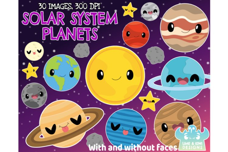 Solar System Planets Clipart, Instant Download Vector Art